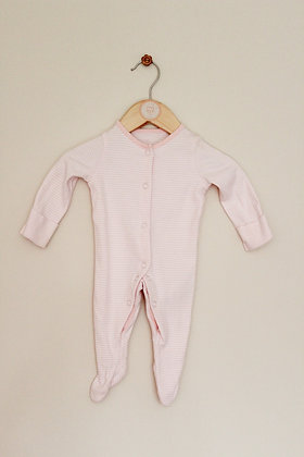 F&F pink striped sleepsuit (age 0-1 month)
