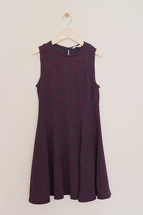 M&S navy and red patterned sleeveless dress (age 9-10)