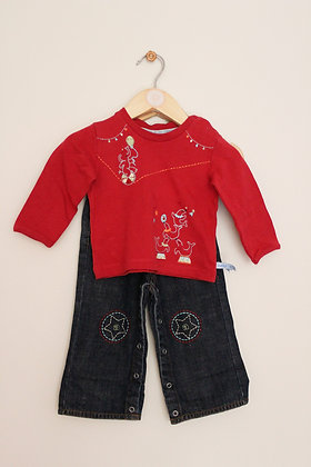 Antoni & Alison circus themed red top (age 3-6 months)