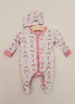 Mini Moi butterfly print sleepsuit and hat (Newborn)