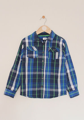 F&F blue and green check shirt (age 6-7)