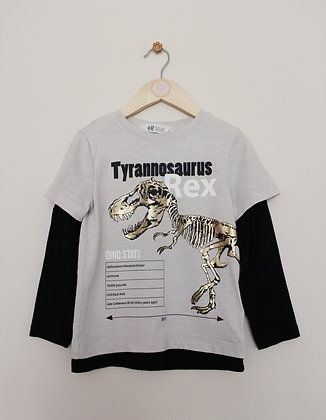H&M black and stone mock layer dinosaur top (age 4-6)