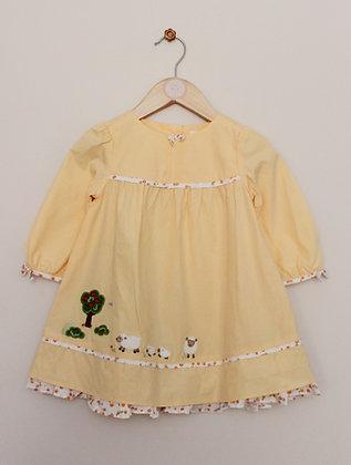Gymboree dandelion yellow cotton sheep dress (age 12-18 months)