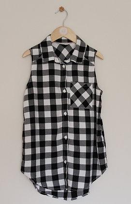 H&M black and white check sleeveless shirt (age 11-12)