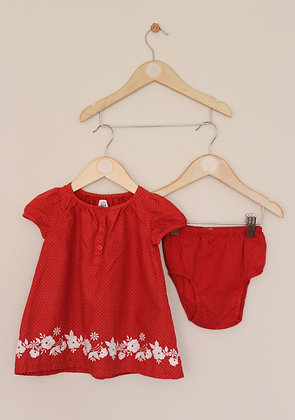 Baby Gap red woven dotty dress with white embroidery (age 6-12 months)