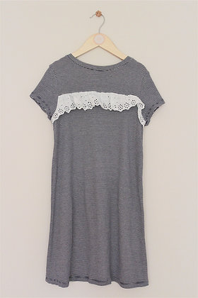 M&S short sleeved navy/white dress with lace trim (age 9-10)