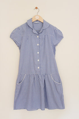 M&S blue gingham school dress (age 12)