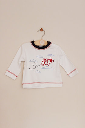 M&S jersey top with aeroplane design (age 3-6 months)