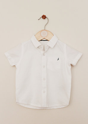 M&S white textured short sleeved shirt (age 3-6 months)