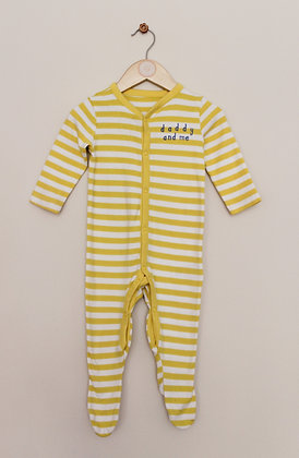 Mothercare yellow striped sleepsuit (age 6-9 months)