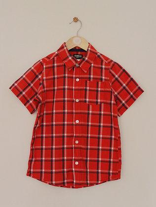 Osh Kosh B'gosh red and navy checked short sleeved shirt (age 7)