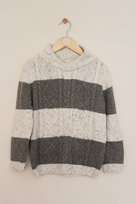 Nutmeg cable knit striped jumper (age 5-6)