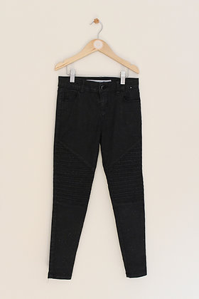 Denim Co skinny sparkly black jeans with feature panels (age 8-9)