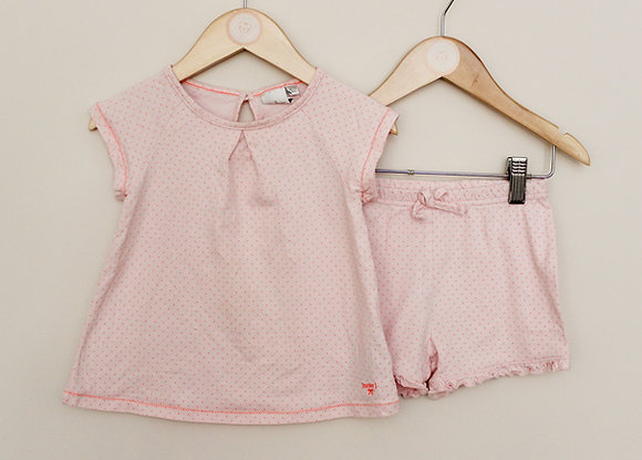 Jasper Conran peach dotty shortie pyjamas (age 18-24 months)