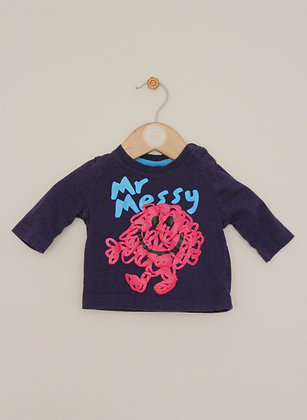 F&F navy 'Mr Messy' top (age 0-1 month)
