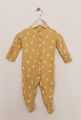 Next mustard bunny print sleepsuit (age 3-6 months)