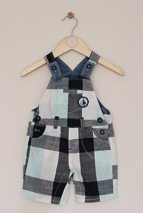Matalan checked dungarees with sailboat badge (age 6-9 months)
