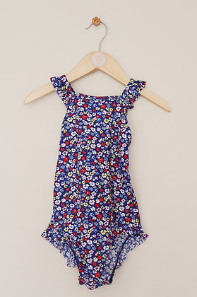 M&S ditsy floral blue swimsuit (age 3-4)