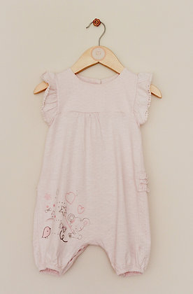 Mothercare pale pink dotty embroidered romper (age 9-12 months)