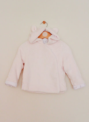 Mothercare pale pink fleece hooded teddy jacket (age 12-18 months)