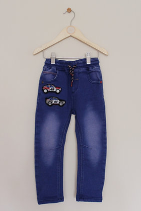 Next pull on blue jeans with car applique (age 3-4)