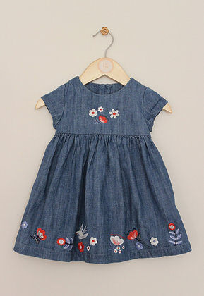 M&S lined denim dress with embroidered decoration (age 6-9 months)