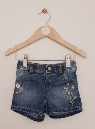 Mothercare embroidered denim shorts (age 6-9 months)