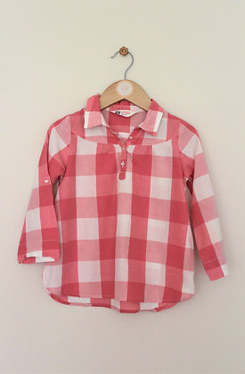 H&M pink/ white checked pullover cotton top (age 2-3)