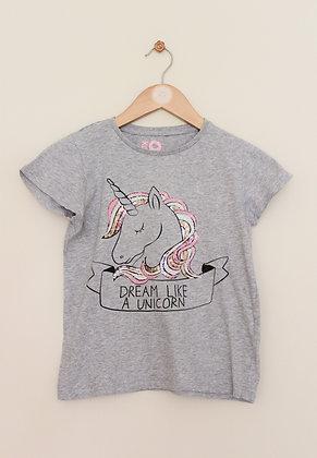 Cotton On Kids grey unicorn t-shirt (age 9)
