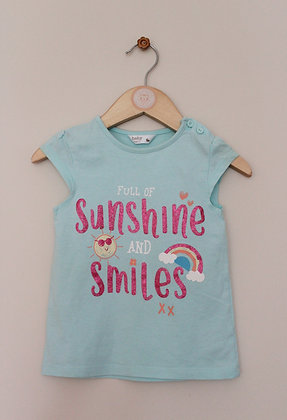 M&Co turquoise 'sunshine and smiles' t-shirt (age 12-18 months)