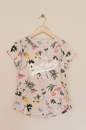 H&M pink floral short sleeved t-shirt (age 10-12)