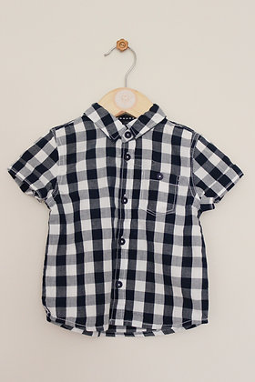 BNWOT F&F dark blue and white checked shirt (age 6-9 months)