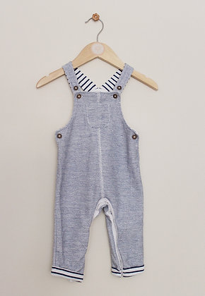 F&F textured blue and white dungarees (age 6-9 months)