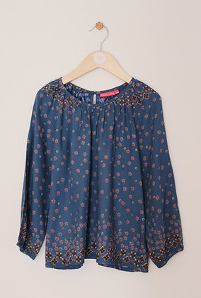 Emma Levine teal long sleeved rayon top with floral design (age 6-7)