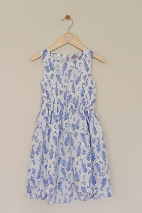 F&F lined sea horse print dress (age 5-6)