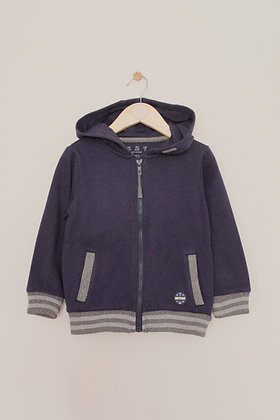 F&F navy zip through hoodie with grey rib trim (age 4-5)