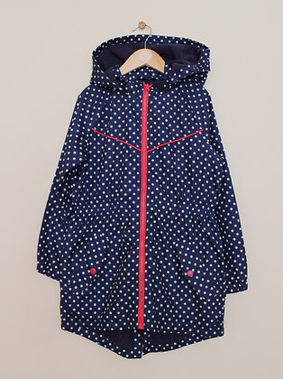 Matalan fleece lined navy spotted coat (age 9)