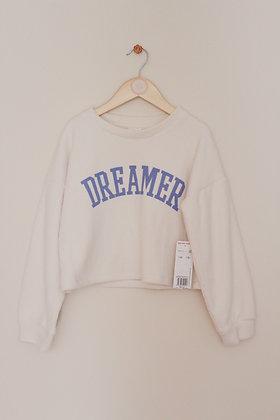 F&F cream ribbed cropped fleecy sweatshirt (age 7-8)