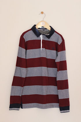 M&S striped long sleeved polo shirt (age 10-11)