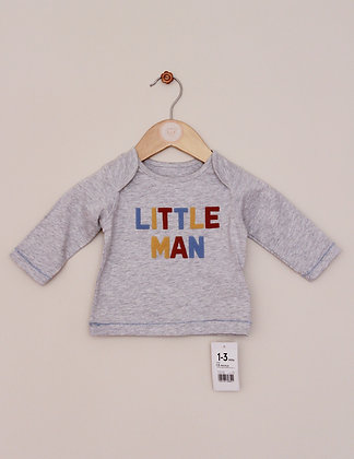 BNWT Mothercare grey 'Little Man' top (age 1-3 months)