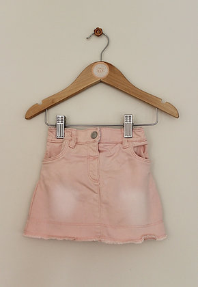 Nutmeg pink denim skirt with integrated cover up pants (age 9-12 months)