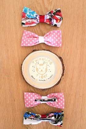 Haggerty Hair Bows x 4 (pink hearts and floral multi)