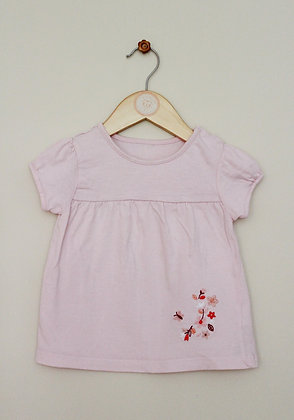 Little Nutmeg pink embroidered t-shirt (age 12-18 months)