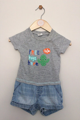H&M all in one denim shorts and t-shirt (age 2-4 months)