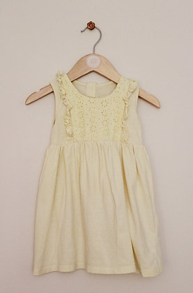 Matalan pastel yellow broiderie bodice dress (age 12-18 months)