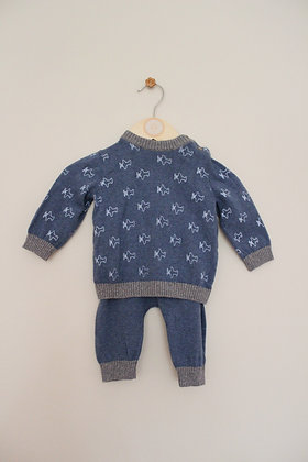TU knitted blue and grey 2 piece outfit (age 0-3 months)