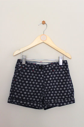 Fatface navy shorts with cream print (age 4-5)
