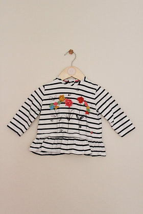 M&S striped top with flower decoration (age 6-9 months)