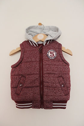 F&F hooded burgundy and grey gilet (age 6-9 months)