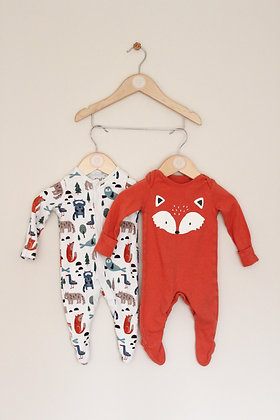 2 x Fred & Flo fox themed sleepsuits (age 0-3 months)